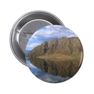 Mirror reflections on beautiful Lake Hawea Pinback Button