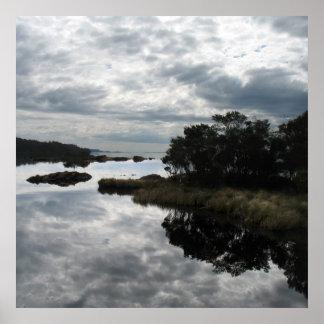 Mirror reflections, Sarah Island, Tasmania Poster