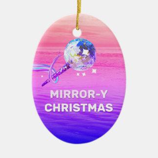 Mirror-y Christmas Ceramic Oval Decoration