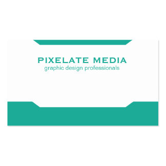 Mirrored angle pattern aqua colored design pack of standard business cards