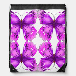 Mirrored Awareness Butterflies Drawstring Bag