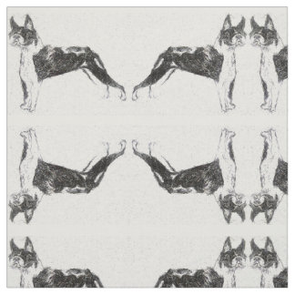 Mirrored Boston Terriers Fabric