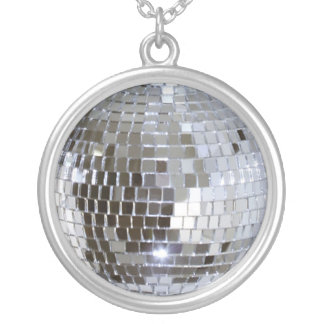 Mirrored Disco Ball 1 Silver Plated Necklace