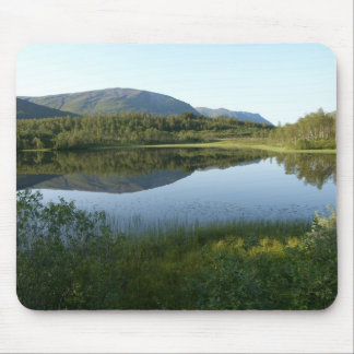 Mirrored mountain in small lake 13a mouse pad