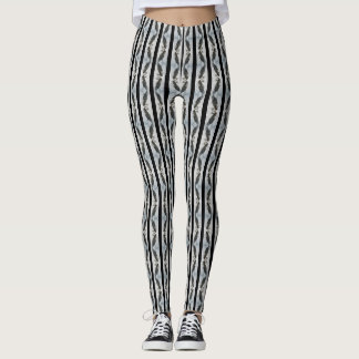 Mirrored Puffins and Black Stripes Leggings