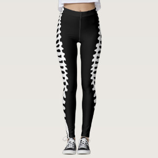 Mirrored skeleton spine legging with vertebrae