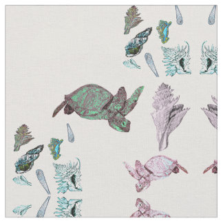 Mirrored Turtles and Shells Pattern Fabric