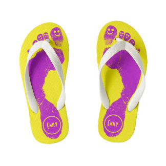 Mirth Purple Footprints Smiley-Toes™ Neon Yellow Thongs