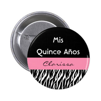 Mis Quince Anos Quinceanera Zebra with Pink 2 6 Cm Round Badge
