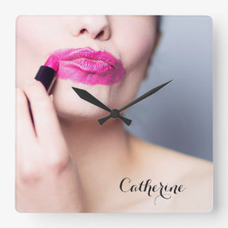 Misapplied Lipstick custom name wall clocks
