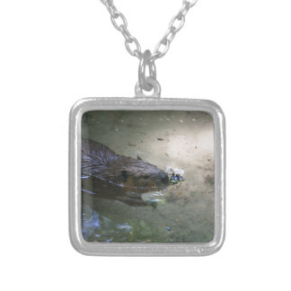 Miscellaneous - American Beaver & Pattern Light Silver Plated Necklace
