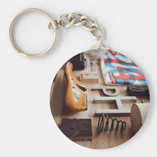 Miscellaneous objects on table basic round button key ring