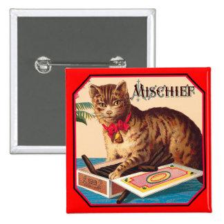 Mischief the Cat 15 Cm Square Badge