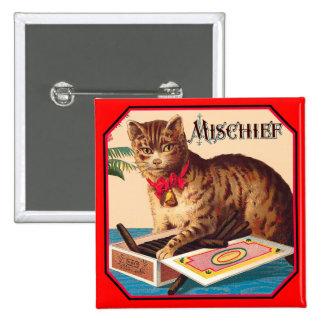 Mischief the Cat - Vintage Ad 15 Cm Square Badge