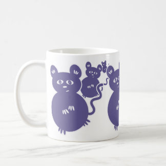 Mischievous Purple Mice Getting Up to Trouble Coffee Mug