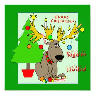 "Mischievous Reindeer Christmas Invitation 5.25"" Square Invitation Card"
