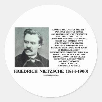 Misfortune Favorable Conditions Growth Nietzsche Classic Round Sticker