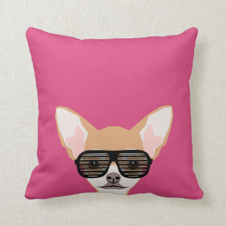 Misha - Chihuahua with avaiators, hipster glasses Cushion