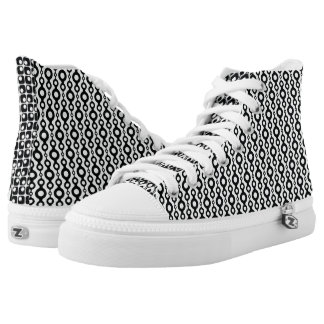 Mismatched Black & White Retro Patterns Printed Shoes