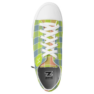 mismatched lime pink blue plaid checkered printed shoes