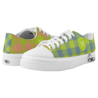 mismatched lime pink blue plaid patterned low tops