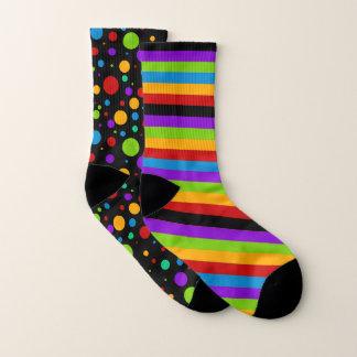 Mismatched Rainbow Stripes and Polka Dot 1