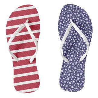 Mismatched US flag patriotic flip flops Thongs