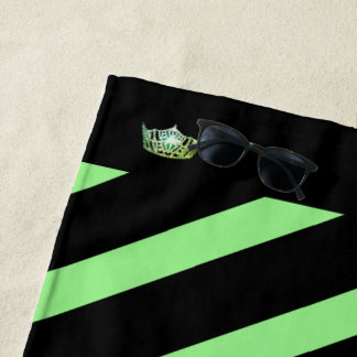 Miss America Apple Green Stripe Crown Beach Towel