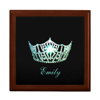 Miss America Aqua Crown Personal Name Jewerly Box