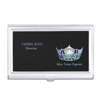 Miss America Baby Blue Crown Business Card Holder
