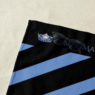 Miss America Blue Stripe Crown Beach Towel