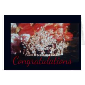 Miss America Crown & Roses Greeting Card-Congrats Card