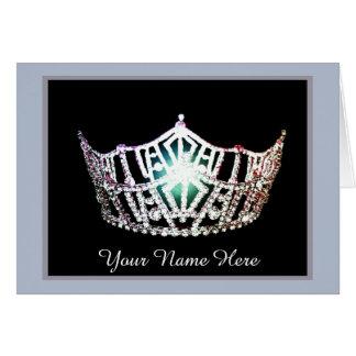 Miss America Crown Thank You Card in BLU/SLVR