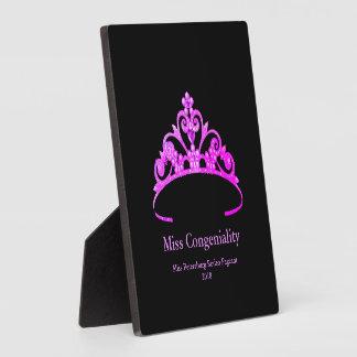 Miss America Fuchsia Tiara Crown Awards Plaque