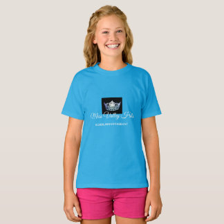Miss America Girls Sky Blue Crown Custom Name Top