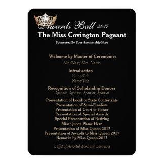 Miss America Gold Crown 2 Awards Ball Program Card 14 Cm X 19 Cm Invitation Card