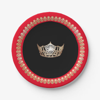 "Miss America Gold Crown 7"" Red Paper Plates"