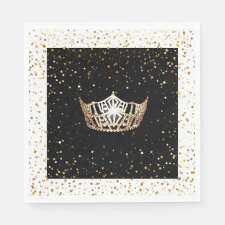 Miss America Gold Crown Gold Stars Paper Napkin