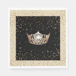 Miss America Gold Crown Gold Stars Paper Napkin