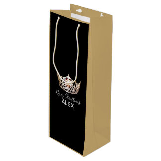 Miss America Gold Crown Silk Gift Bag-Christmas Wine Gift Bag