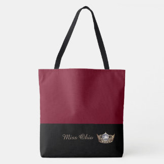 Miss America Gold Crown Tote Bag LRGE Crimson