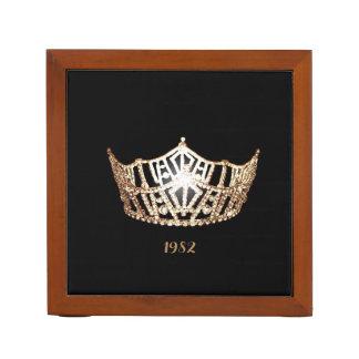 Miss America Gold Crown Wood Desk Organizer-Date Desk Organiser