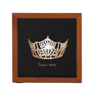 Miss America Gold Crown Wood Desk Organizer-Since Desk Organiser