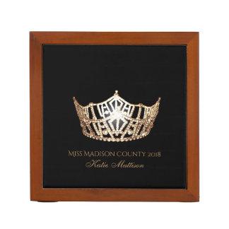 Miss America Gold Crown Wood Desk Organizer-Title Desk Organiser