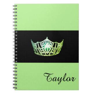 Miss America Green Crown Notebook- Custom Name Notebook