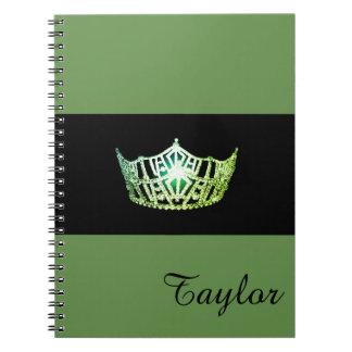 Miss America Green Crown Notebook- Custom Name Notebooks