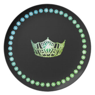 Miss America Green Crown Plastic Plates