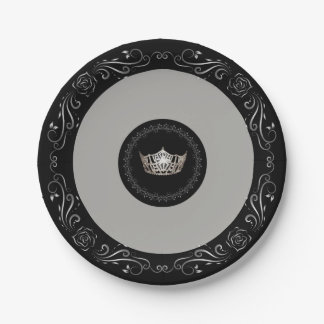 "Miss America Grey Silver Crown 7"" Paper Plates"