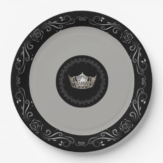 "Miss America Grey Silver Crown 9"" Paper Plates"