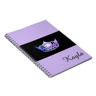 Miss America Lavender Crown Notebook- Custom Name Notebook